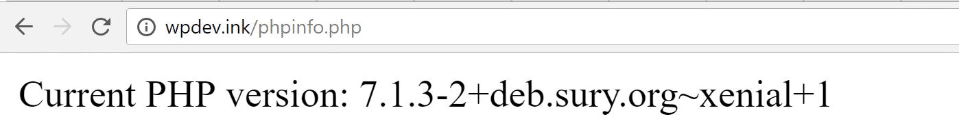 Verifique a versão do PHP no navegador