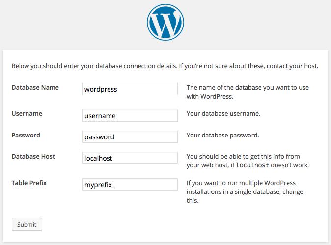 Quando você executar a configuração, você será solicitado a inserir dados que estão armazenados no arquivo wp-config.php
