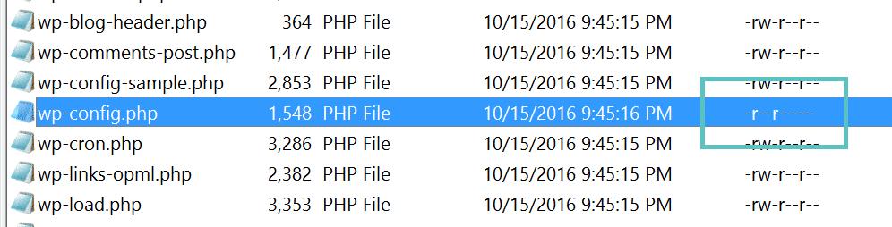 permissões do wp-config.php