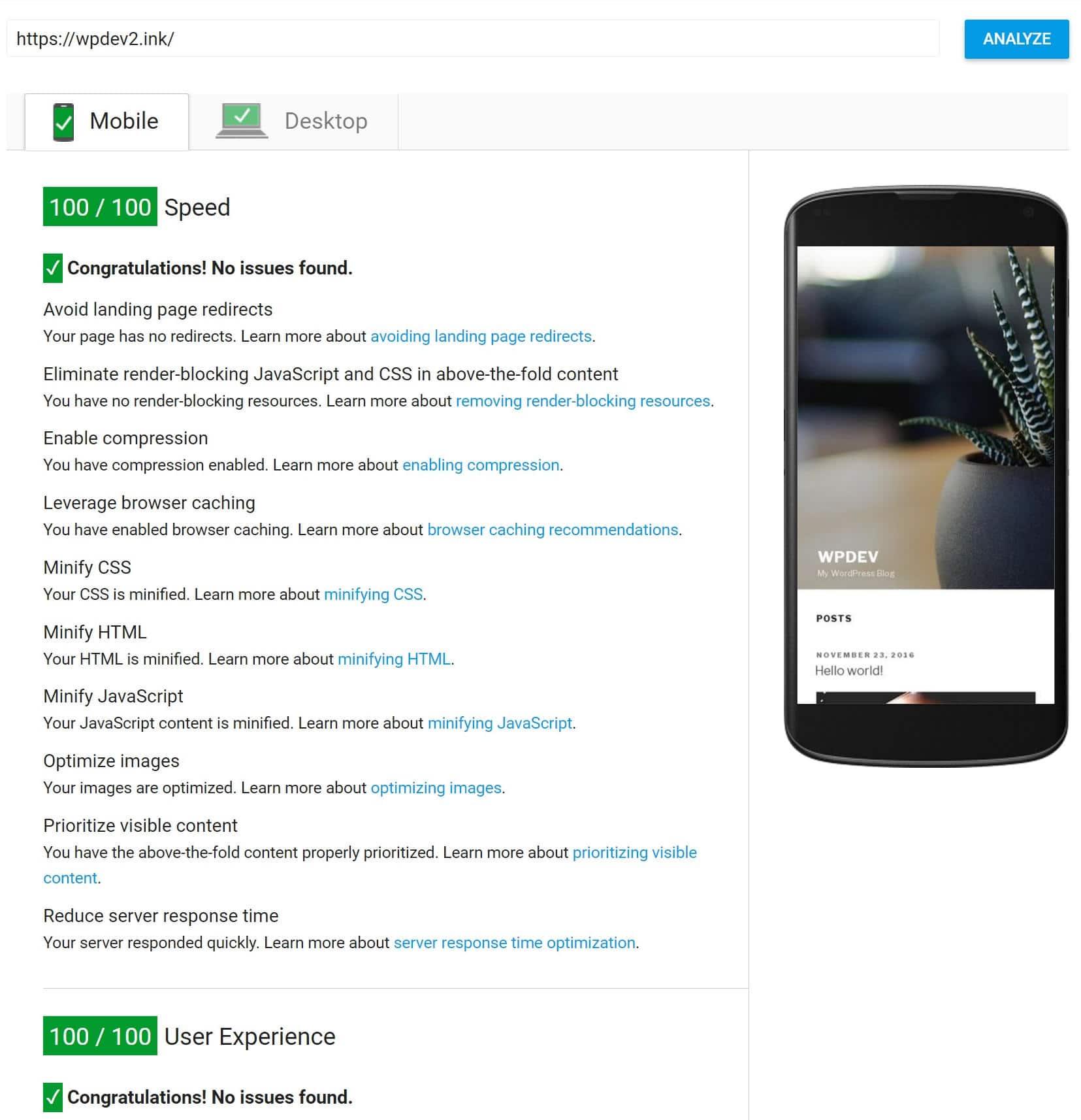 Pontuação no celular de 100/100 Google PageSpeed Insights