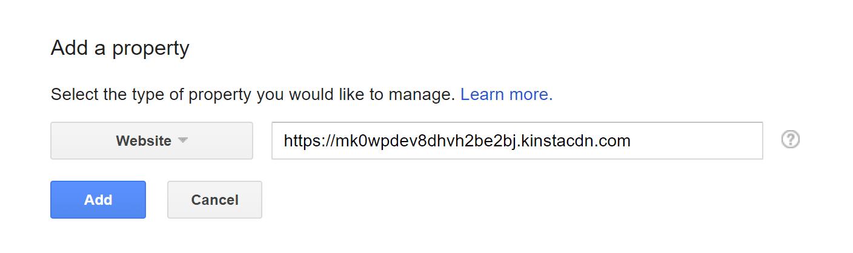 Adicionar Kinsta CDN para o Google Search Console