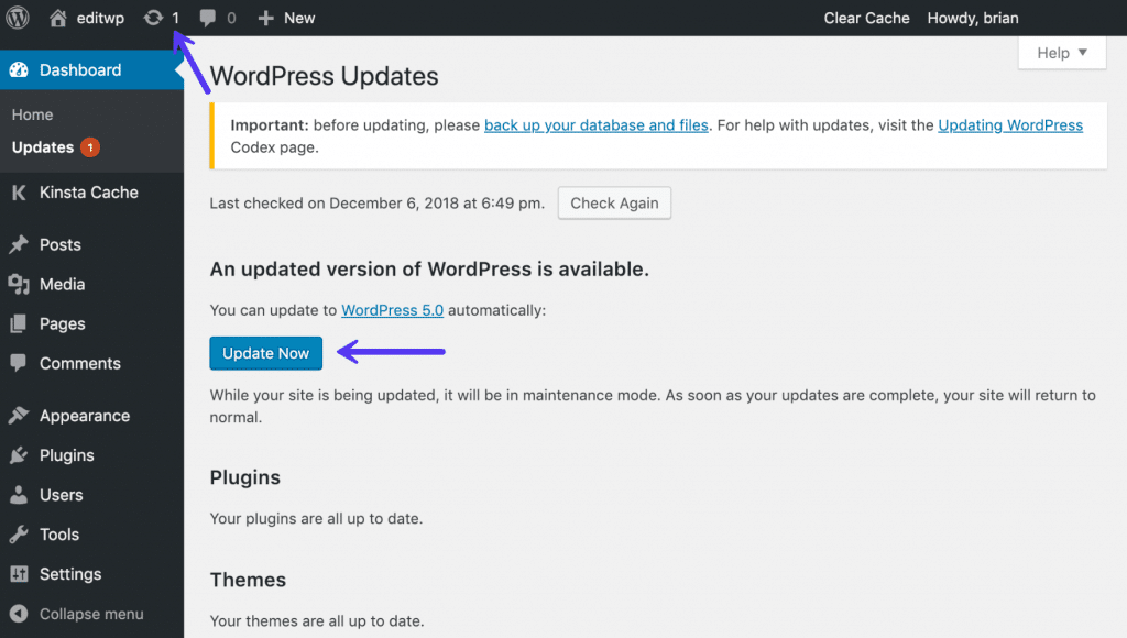 Atualizar o WordPress core