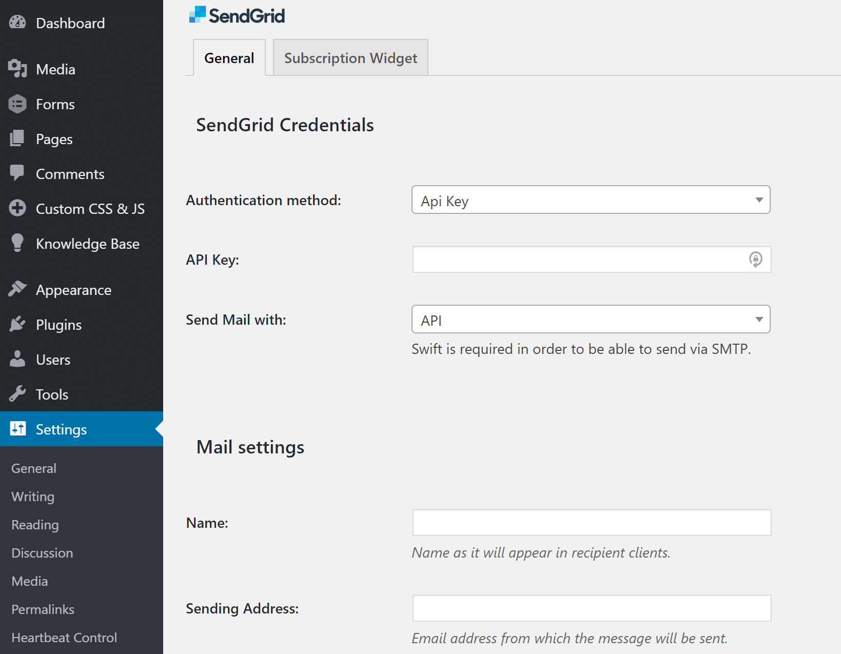 Configurações do plugin SendGrid WordPress