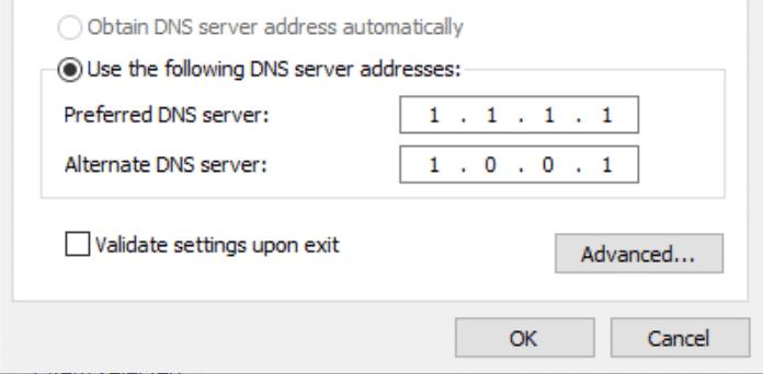 Endereços de servidor DNS