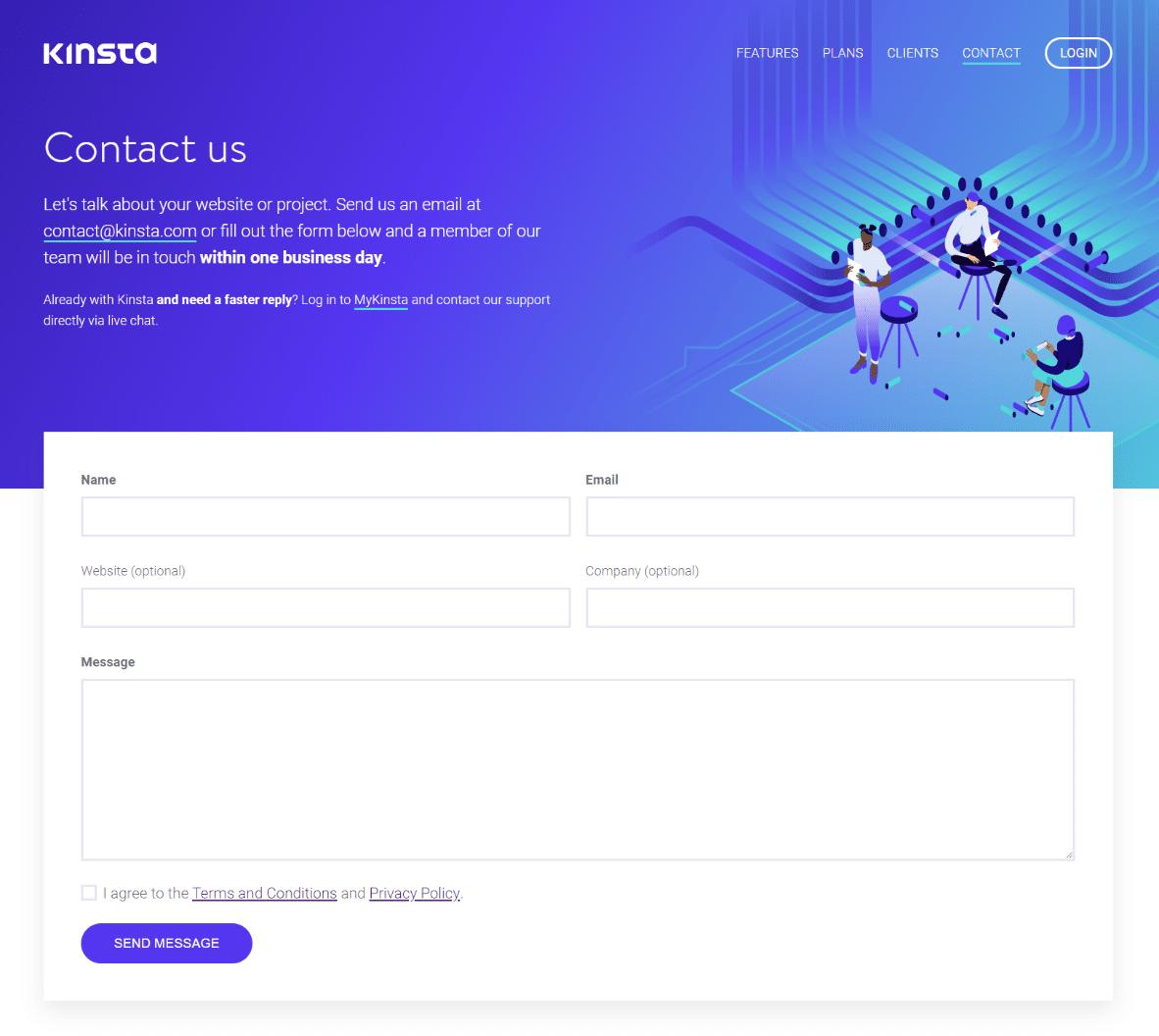 Exemplo de formulário de contato conosco