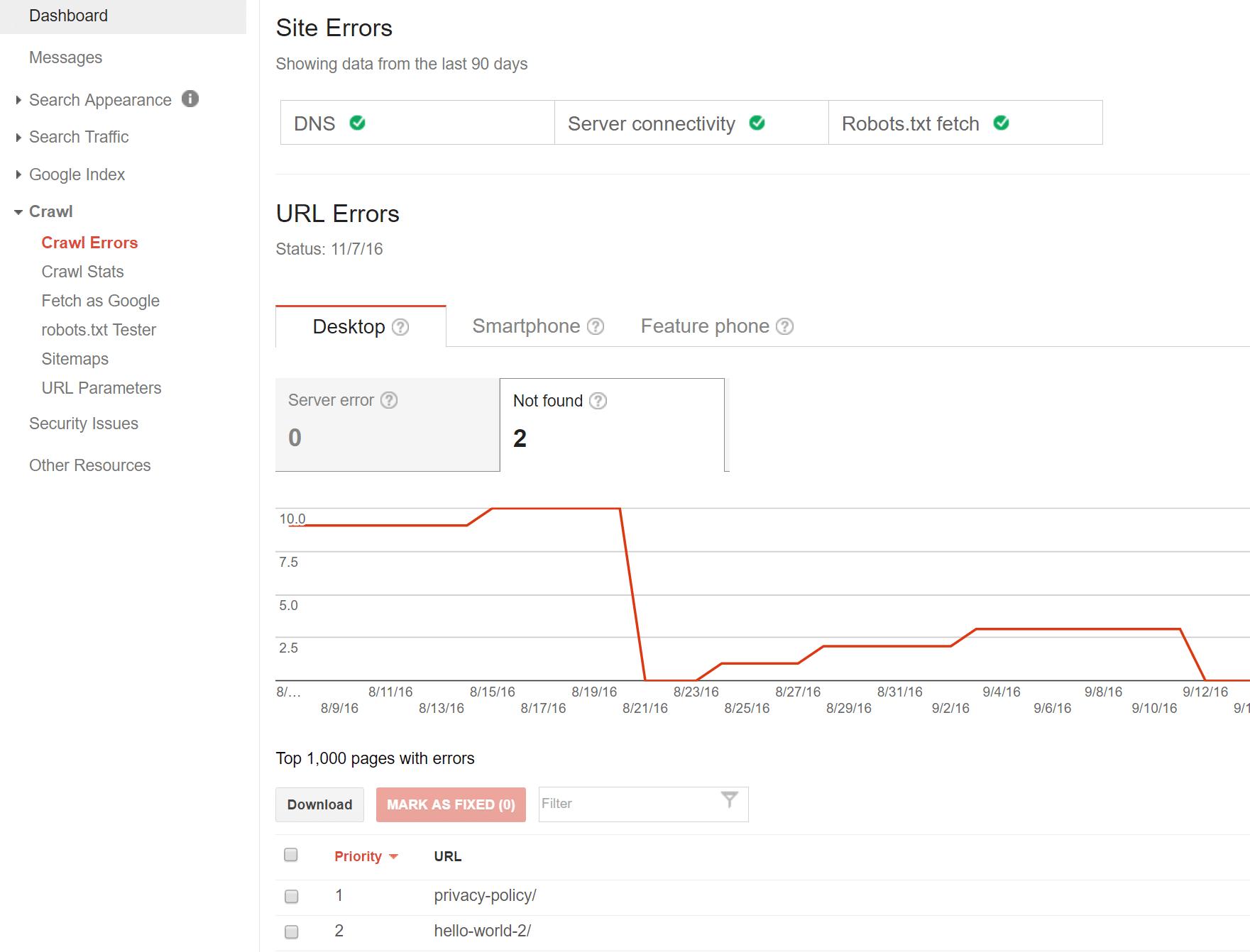 Links quebrados no Google Search Console
