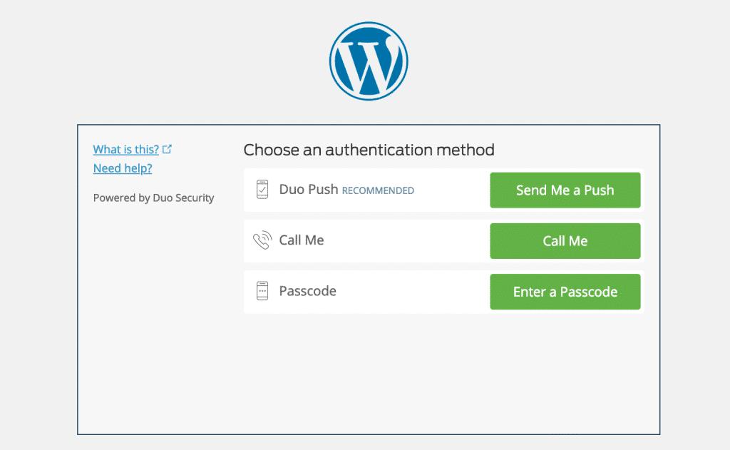 Página do autenticador de dois fatores WordPress