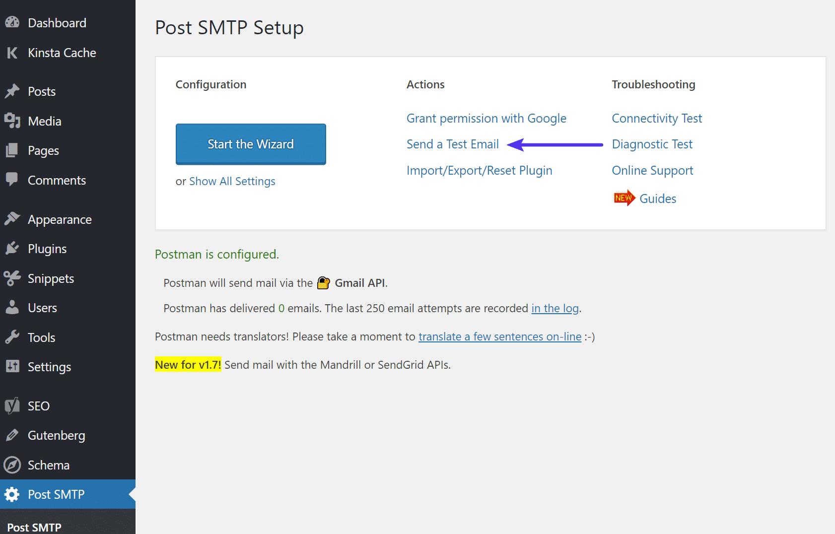 Post SMTP enviar e-mail de teste