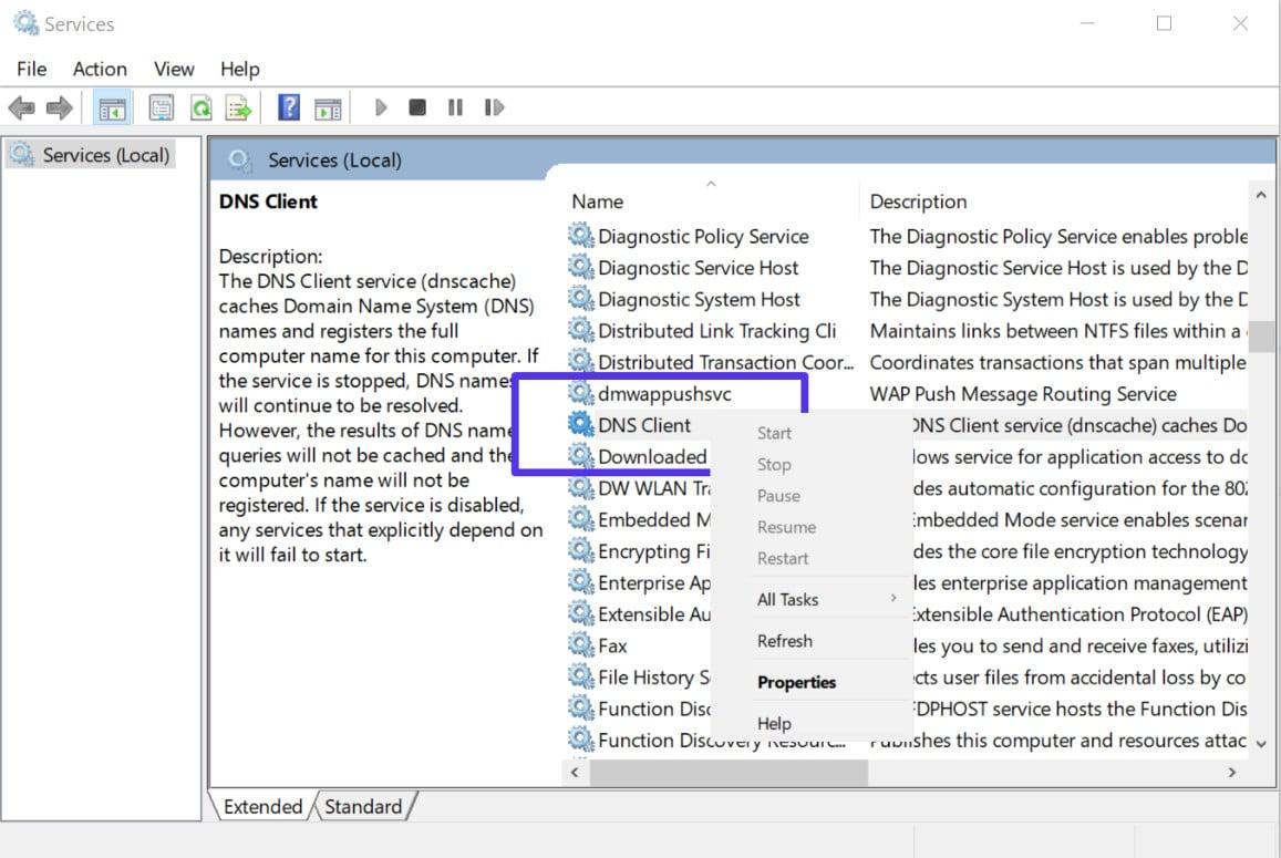 Reinicie o serviço de cliente DNS no Windows