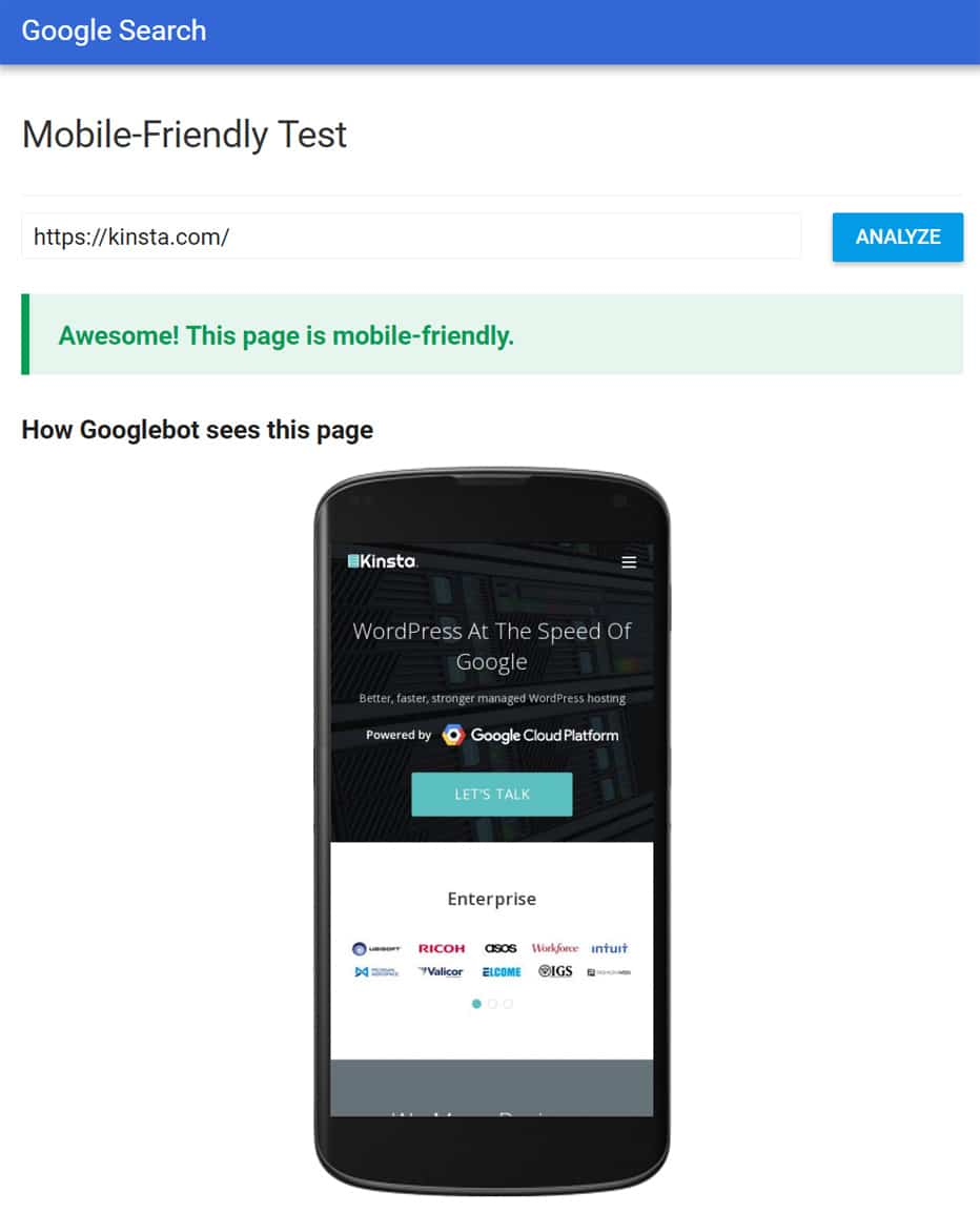Teste mobile-friendly do Google