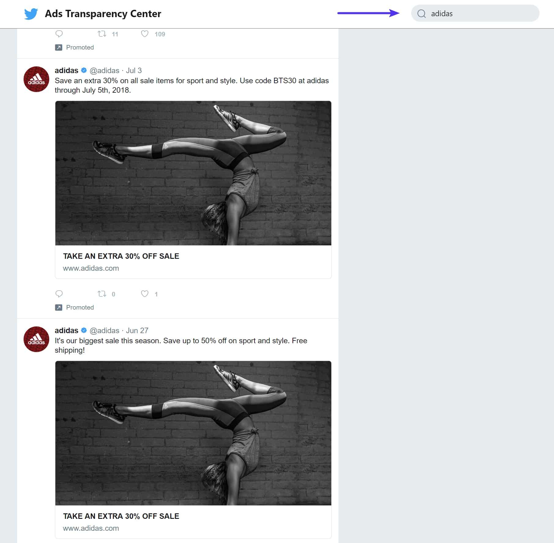 Ver os anúncios do concorrente no Twitter