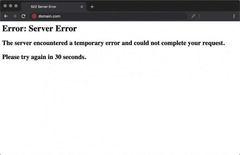 Erro 502 de servidor surgindo no Chrome