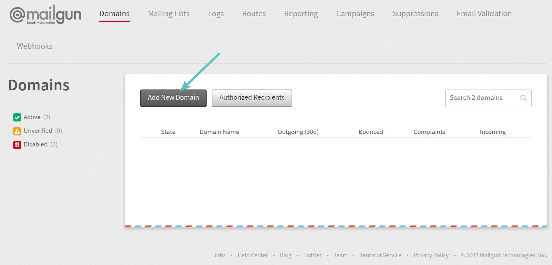 Adicionar novo domínio no Mailgun