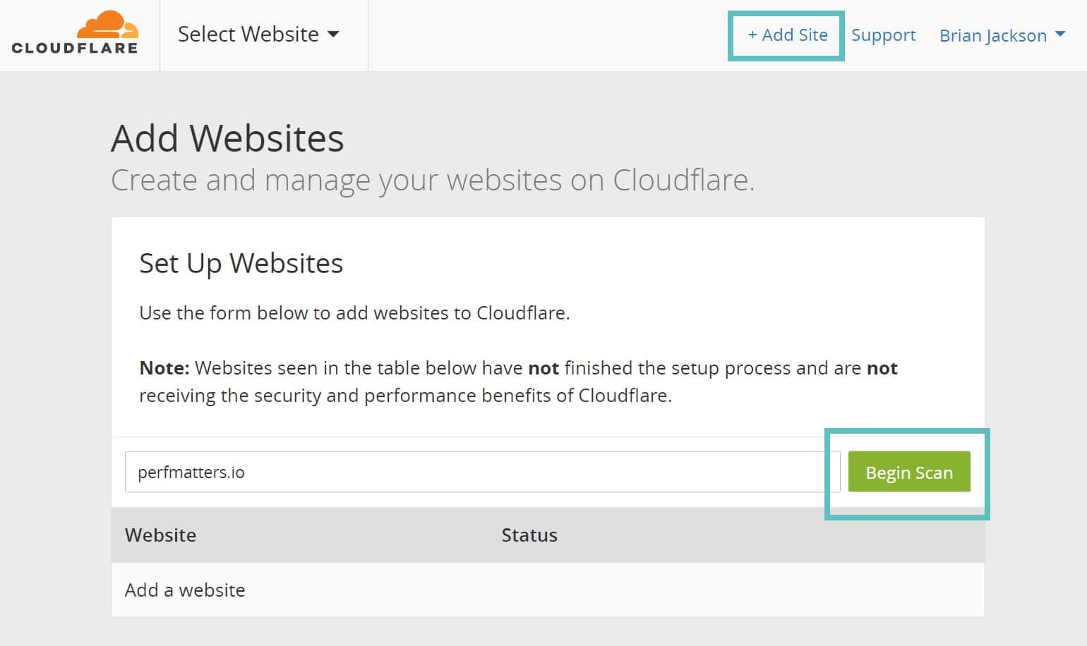 Adicionar site WordPress ao Cloudflare