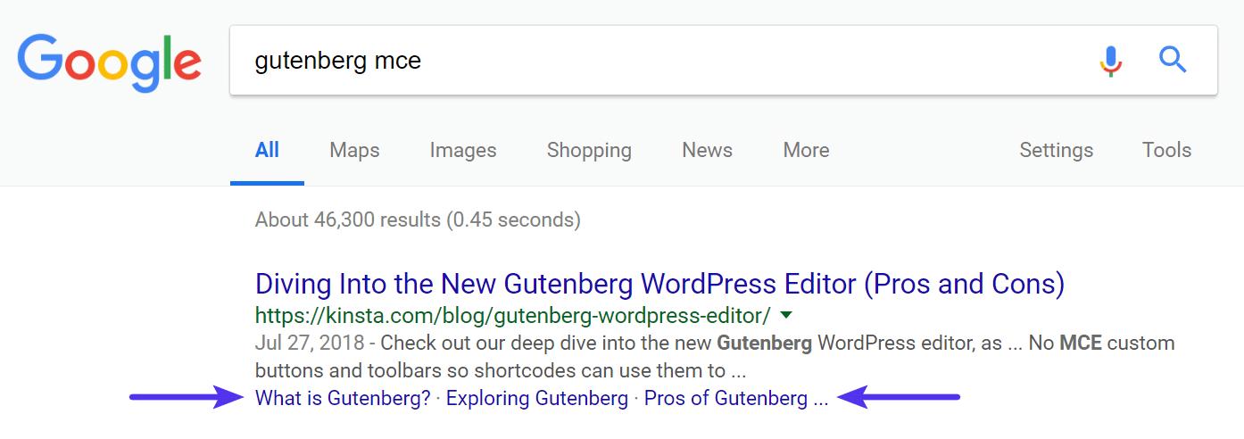 Links de âncora no exemplo do Google