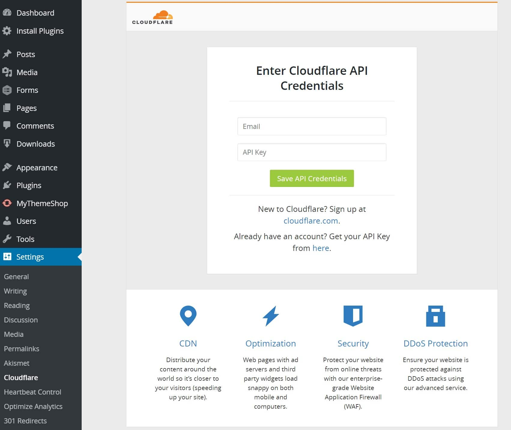 Credenciais API no plugin Cloudflare para WordPress