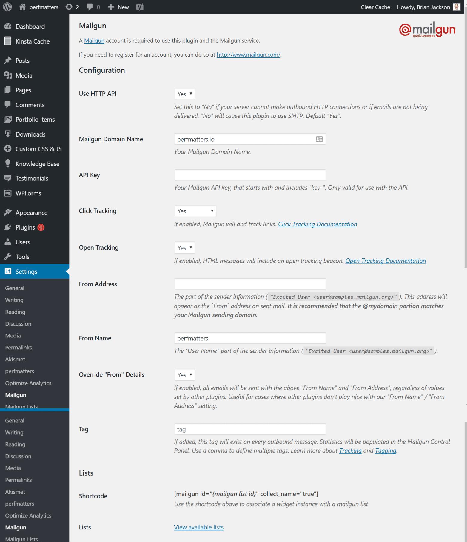Configurações do plugin Mailgun