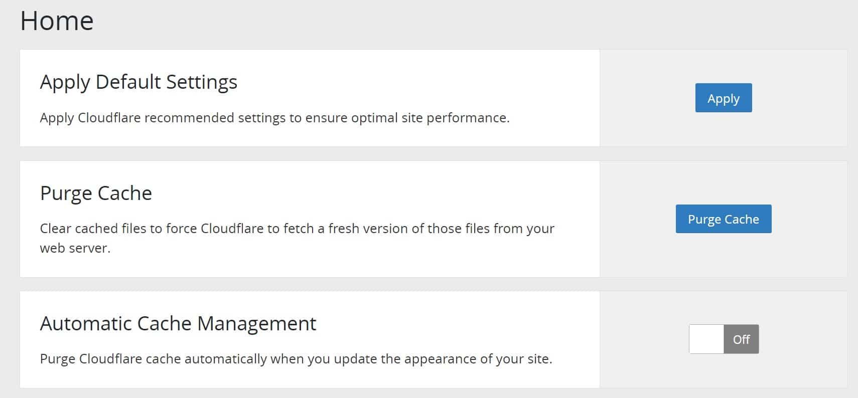 Configurações padrão do plugin Cloudflare