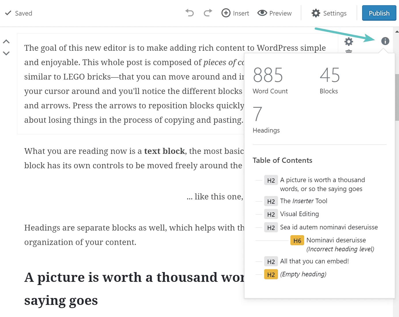 Contagem de palavras e blocos do Gutenberg