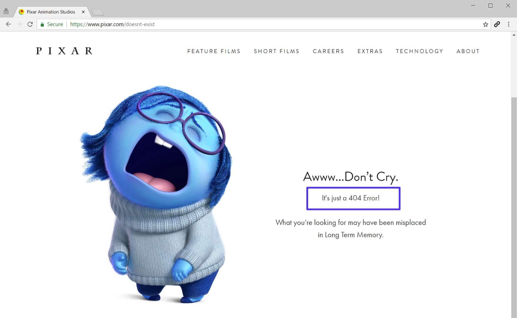 Exemplo de página 404 engraçado