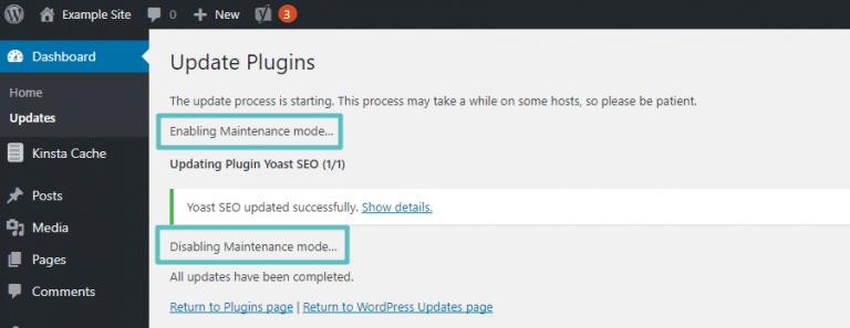 Exemplo de modo de manutenção do WordPress