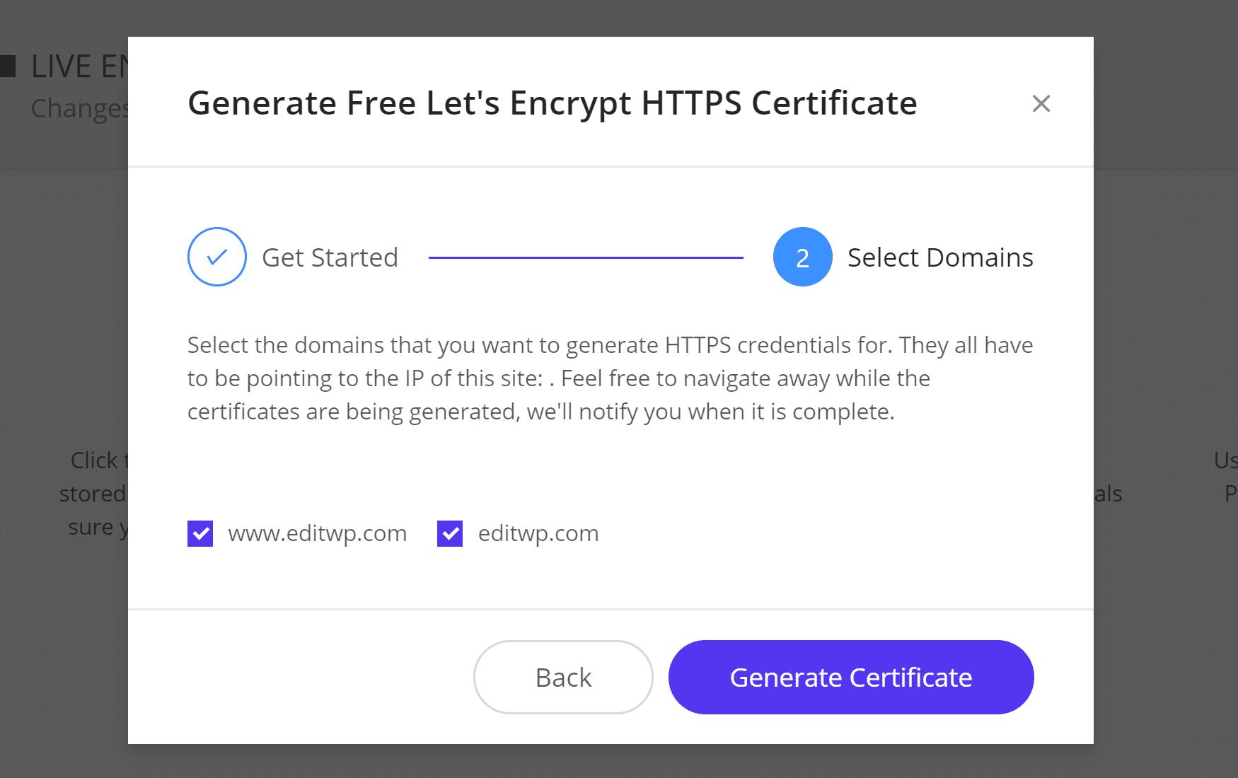 Gerar certificado para ambas as variações do nome de domínio