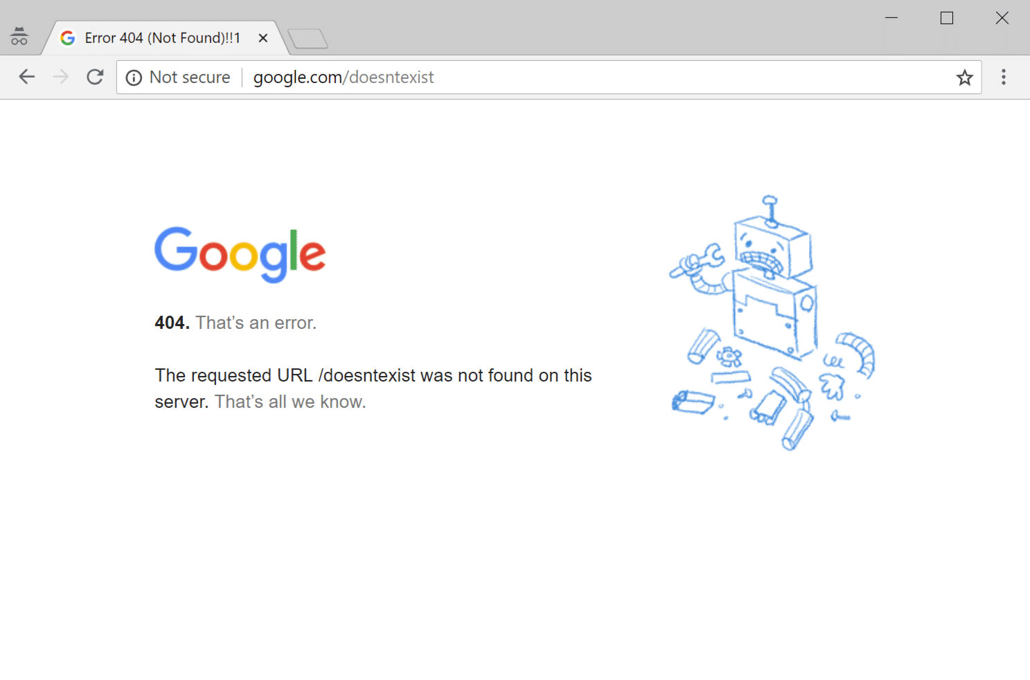 Página de erro do Google 404