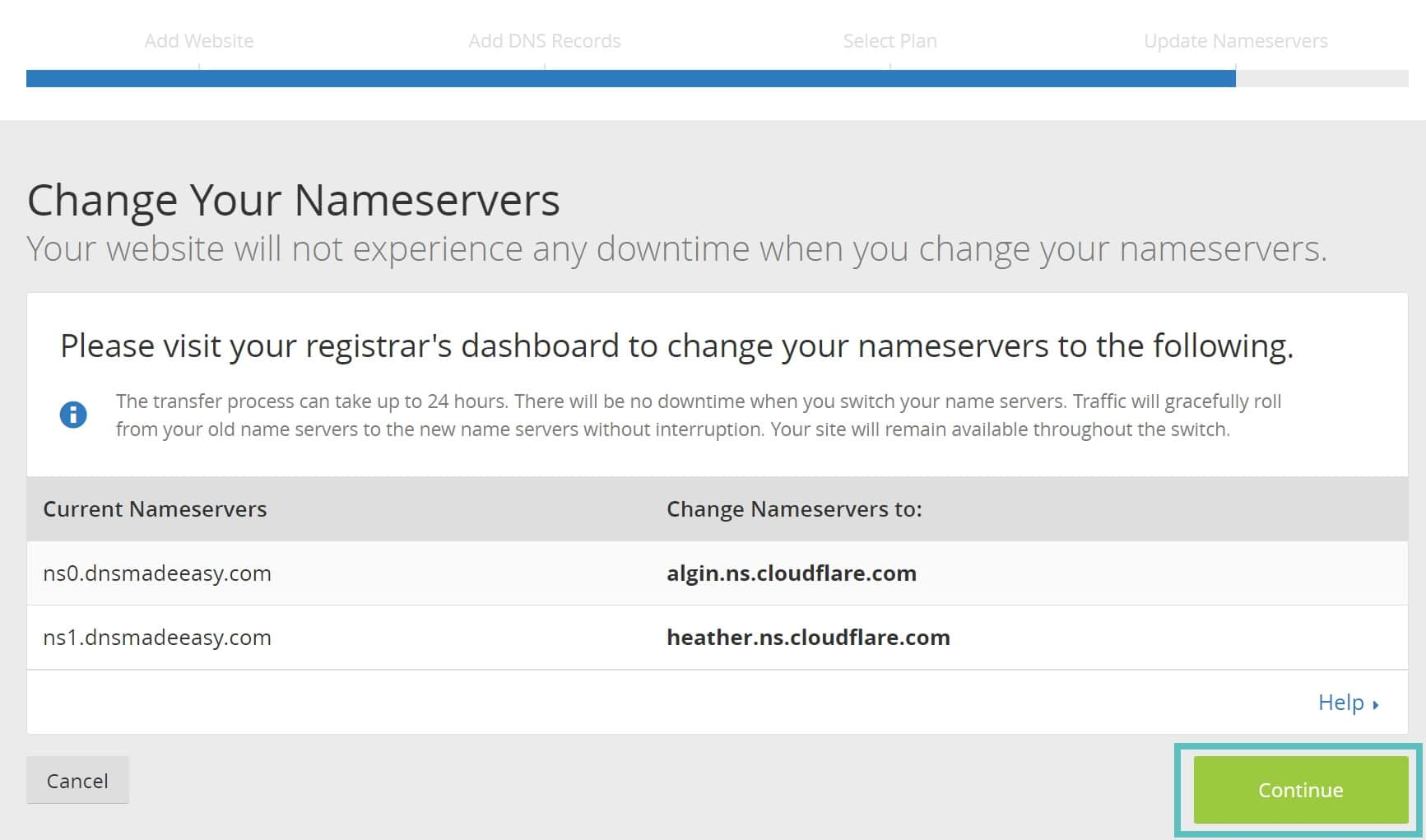Alteração para os nameservers Cloudflare
