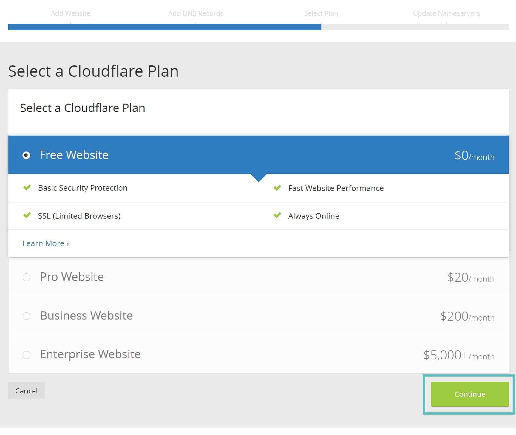 Plano gratuito Cloudflare