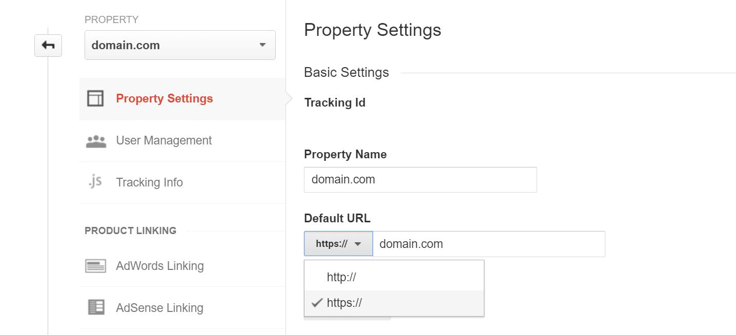 Atualizar a propriedade do Google Analytics para HTTPS