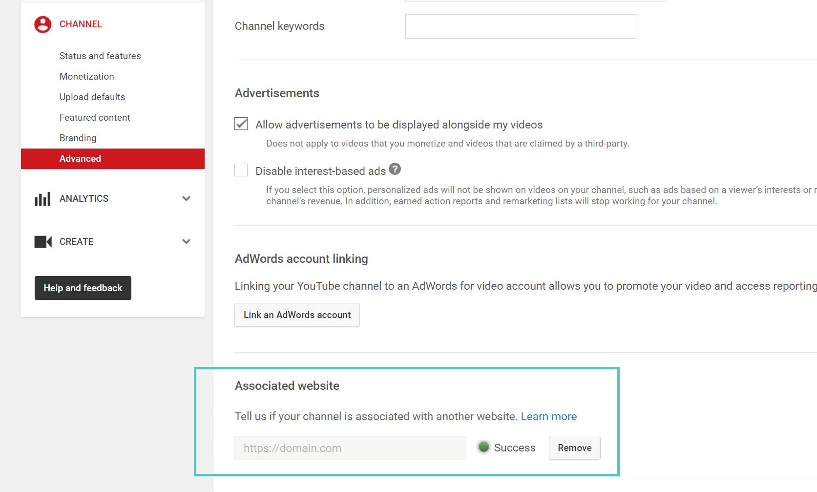 Atualizar o site associado ao YouTube para HTTPS