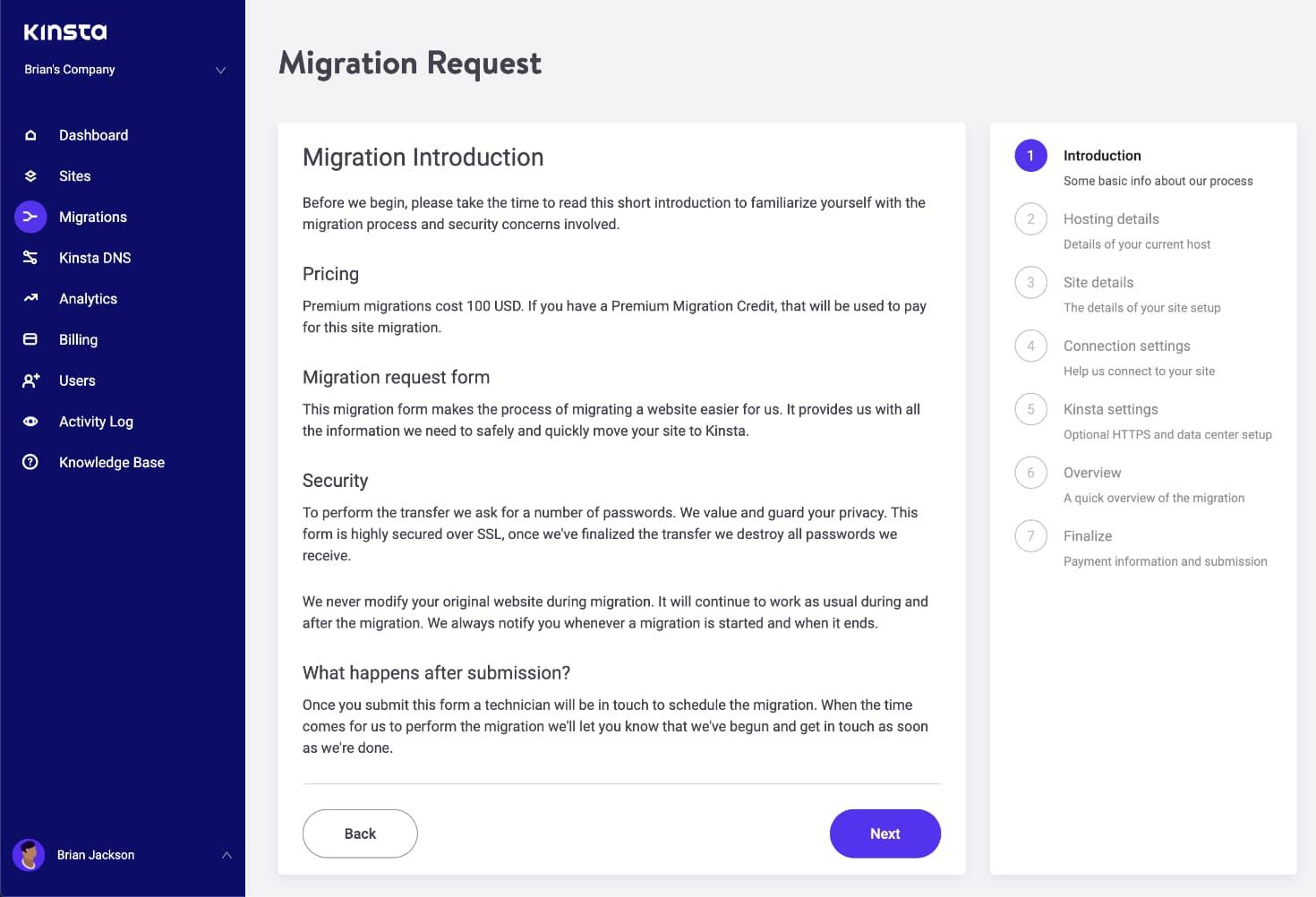 Formulário de solicitação de migração WordPress