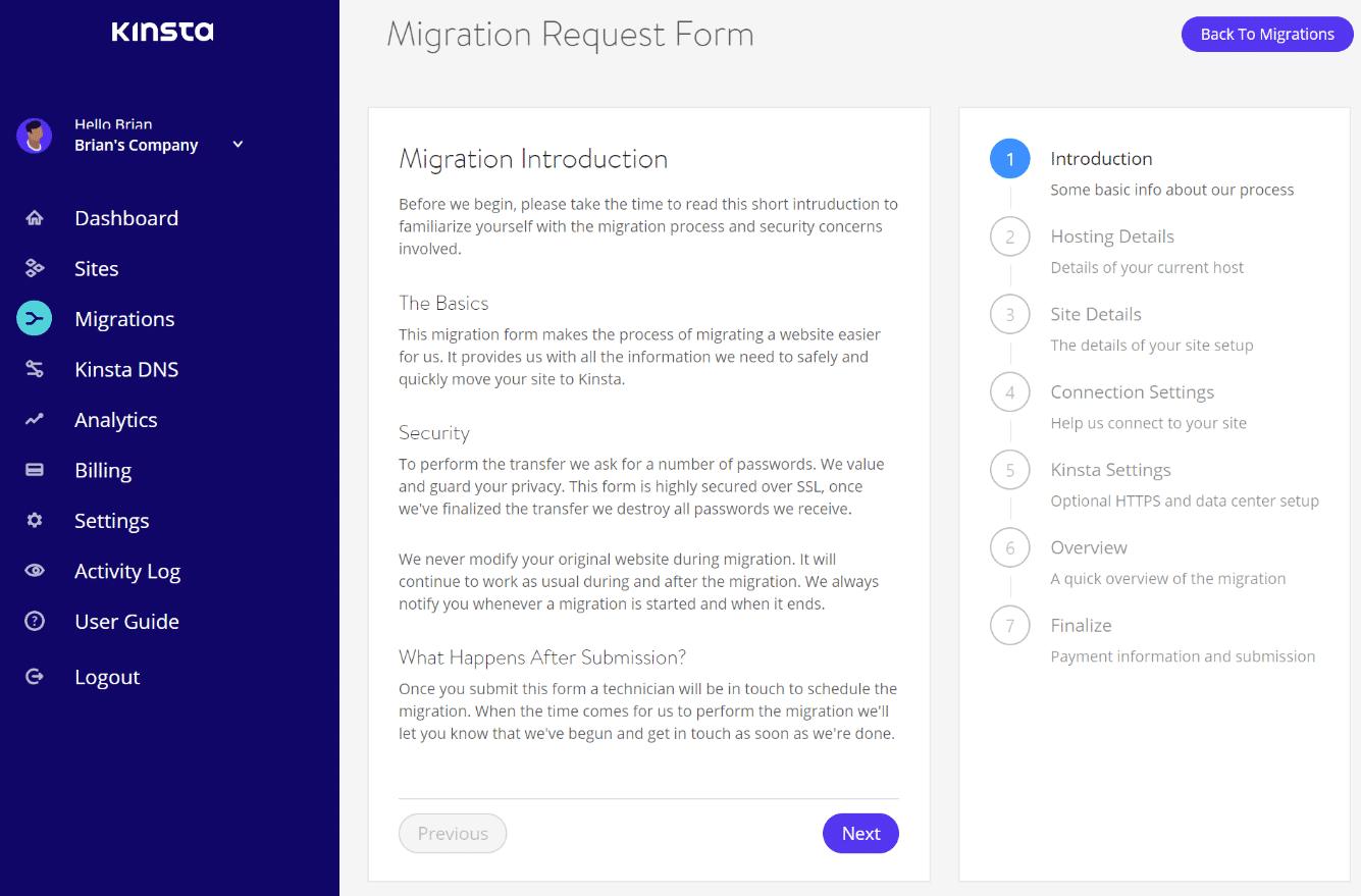 Formulário de solicitação de migração do WordPress