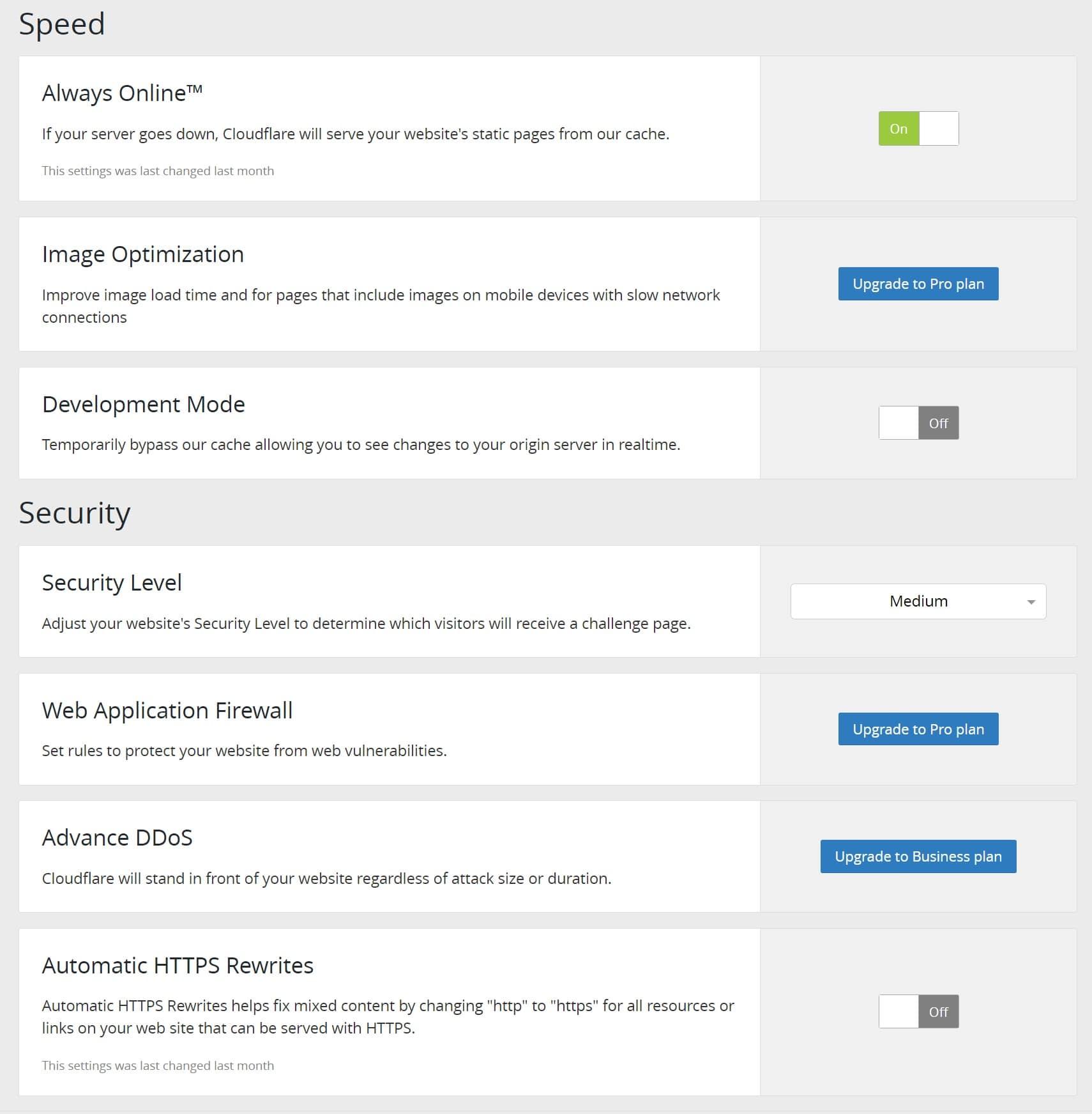Configurações de velocidade e segurança do plugin Cloudflare