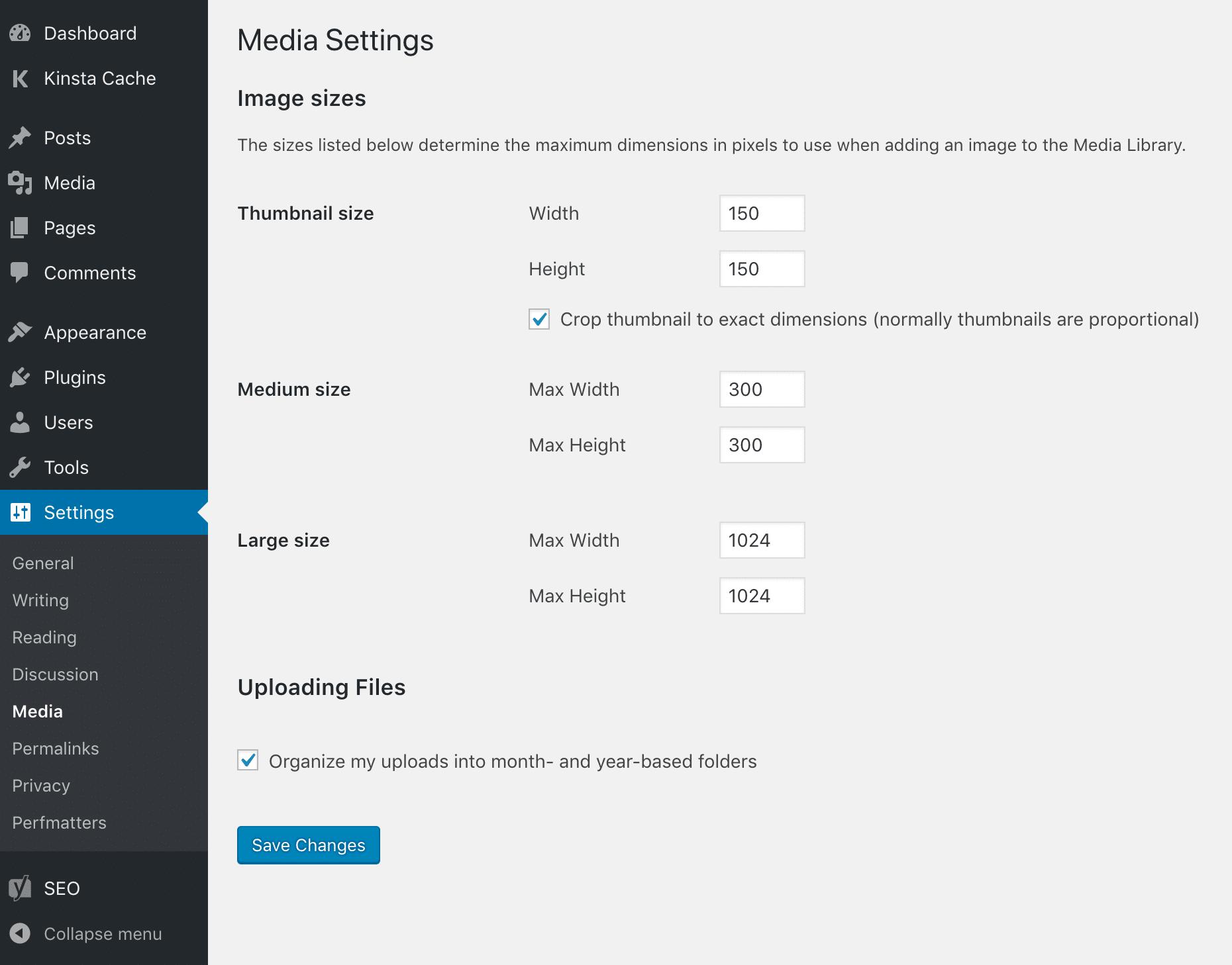 Configurações de mídia do WordPress