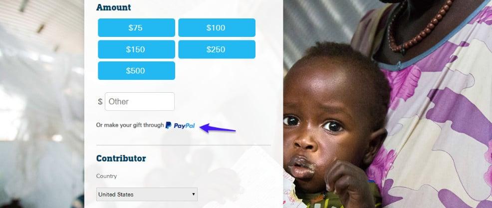 Doações em listas e PayPal