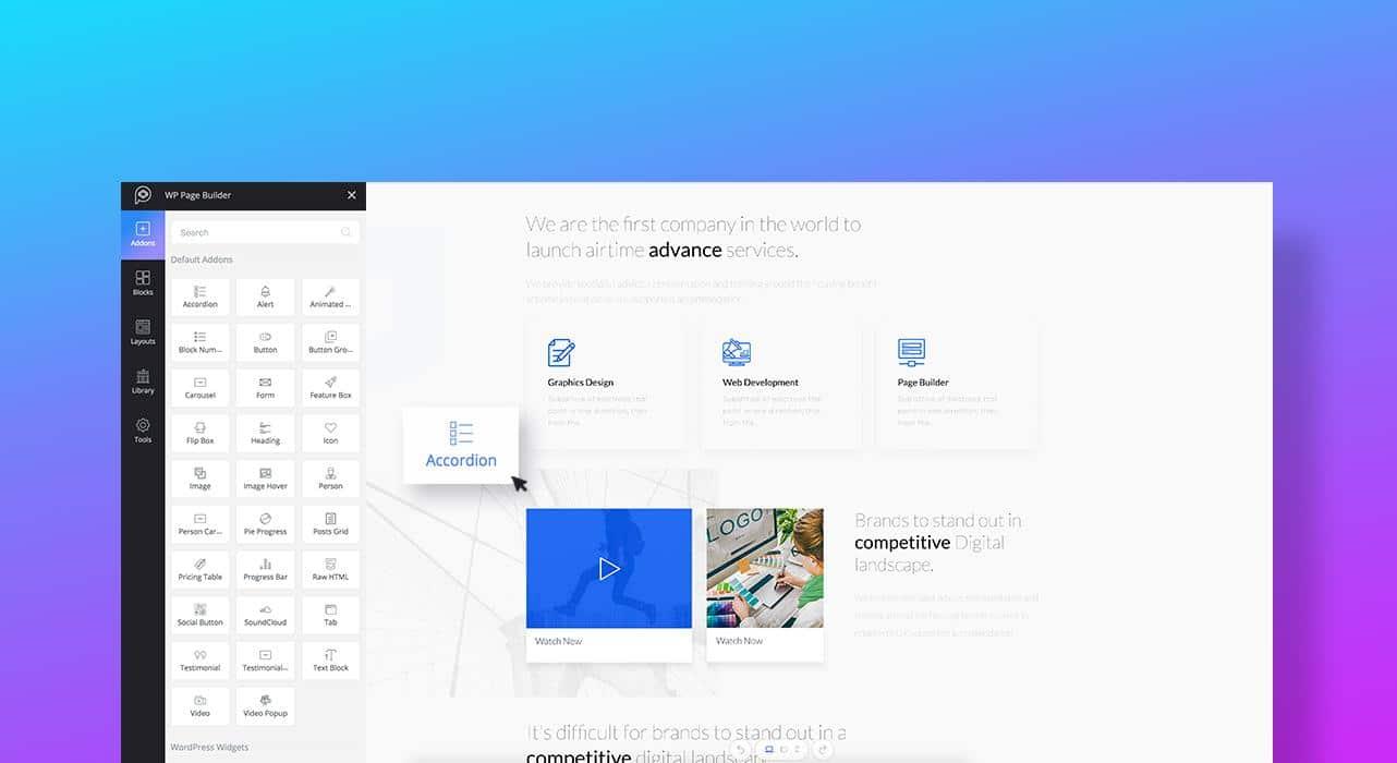 Construção do website Drag & drop
