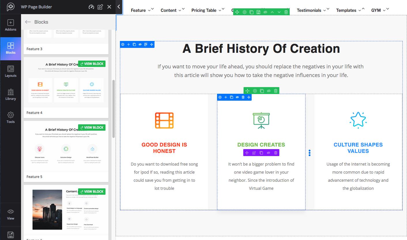 Blocos de características do WP Page Builder