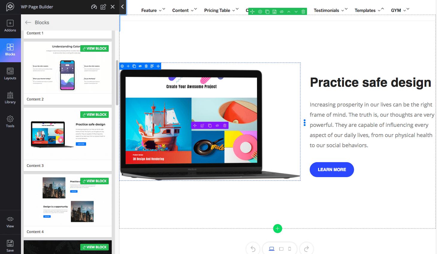 Bloco de conteúdo do WP Page Builder