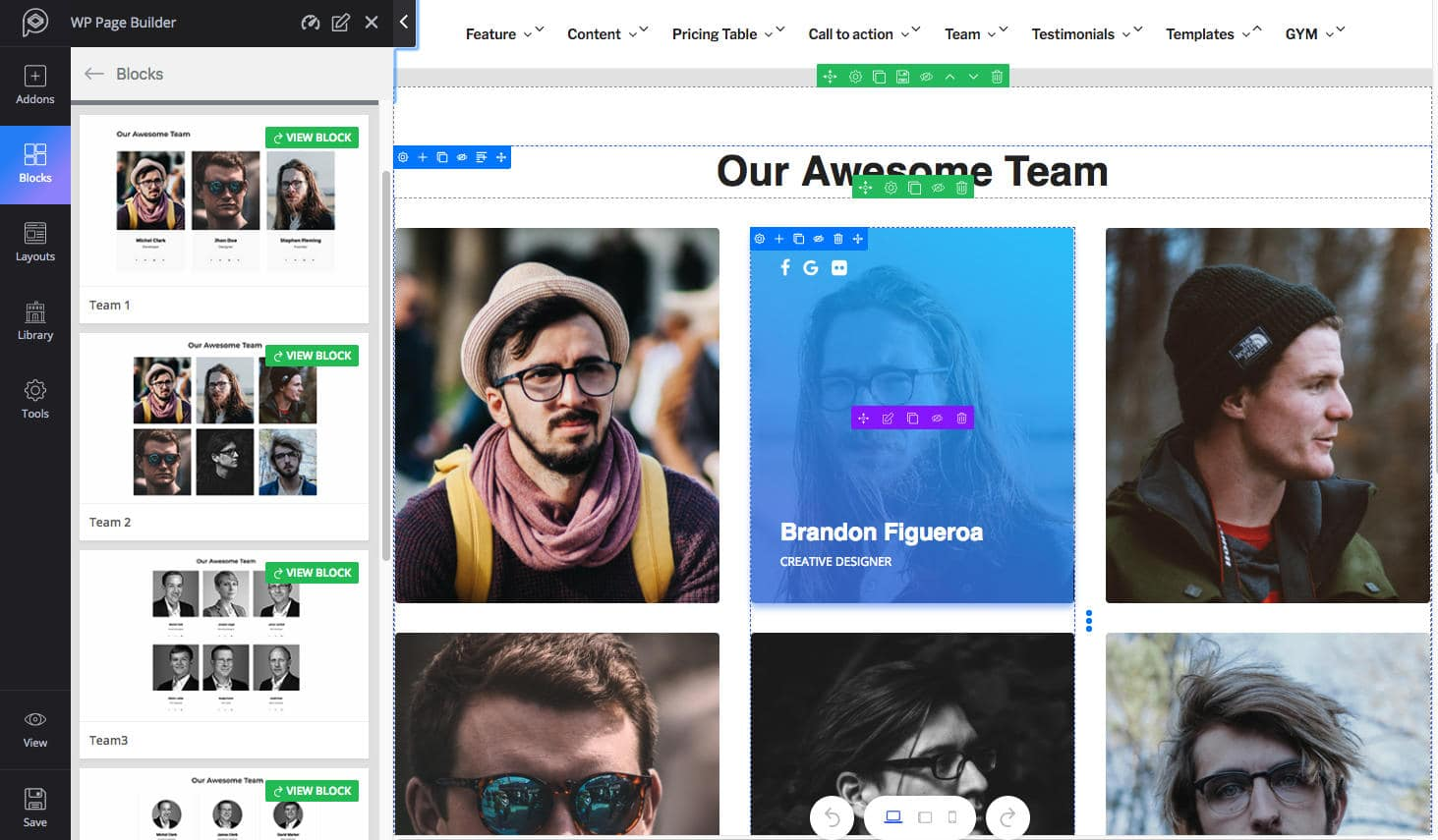 Bloco da equipe WP Page Builder