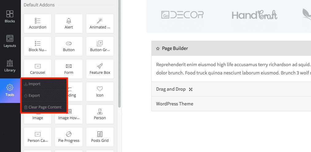 WP Page Builder importação e exportação