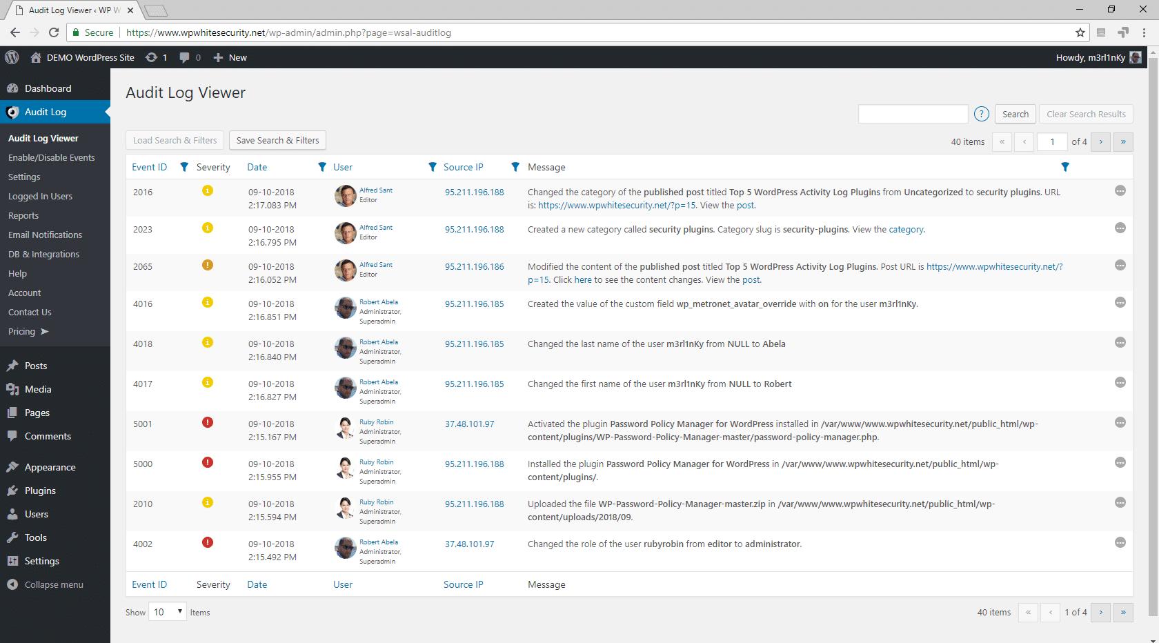 Atividade do usuário da faixa do WordPress