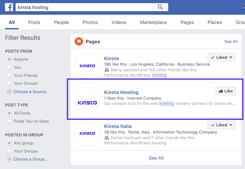 Marca registada dos resultados de pesquisa do Facebook