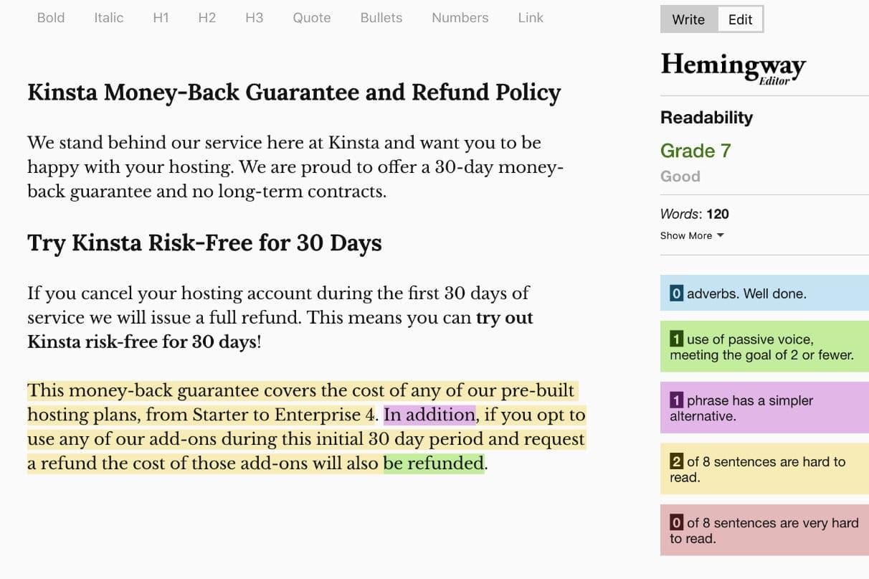 Legibilidade da política de reembolso