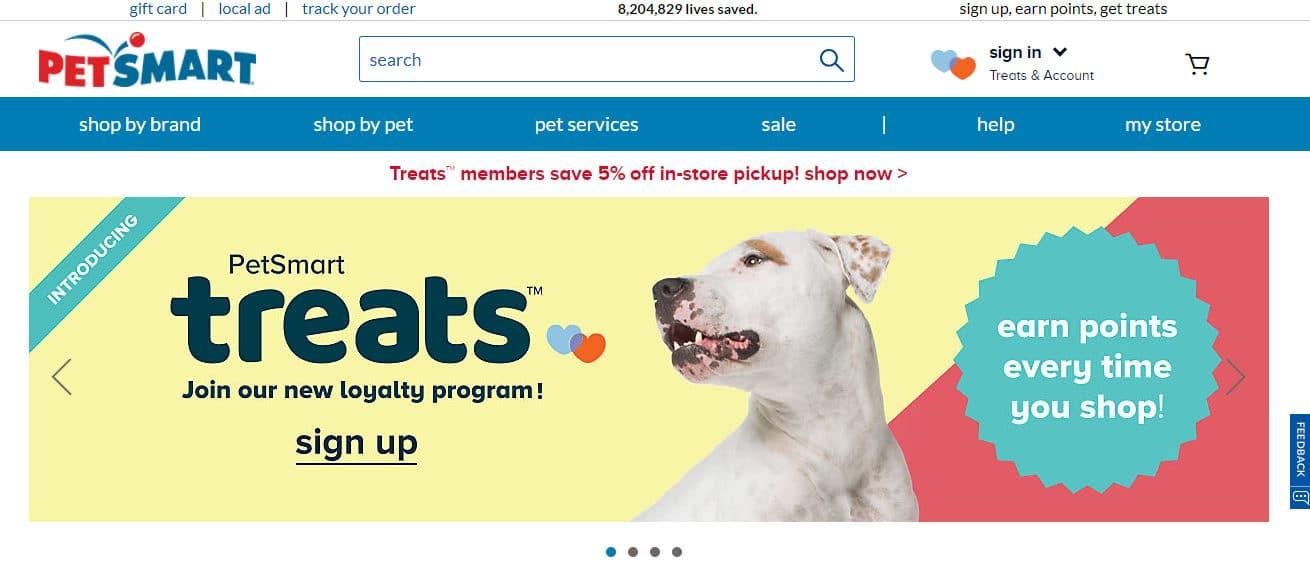 Nome de domínio diferente da PetSmart