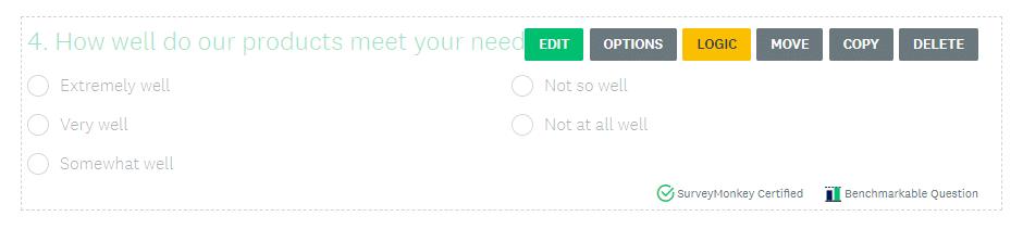 Opções de perguntas da pesquisa