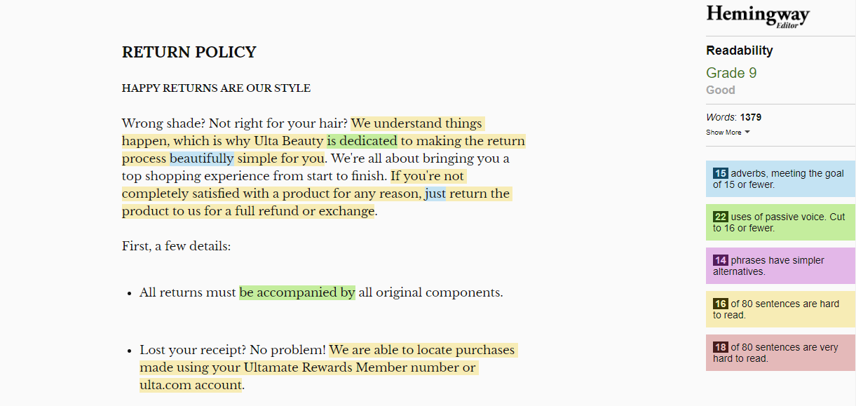 Política de retorno legibilidade
