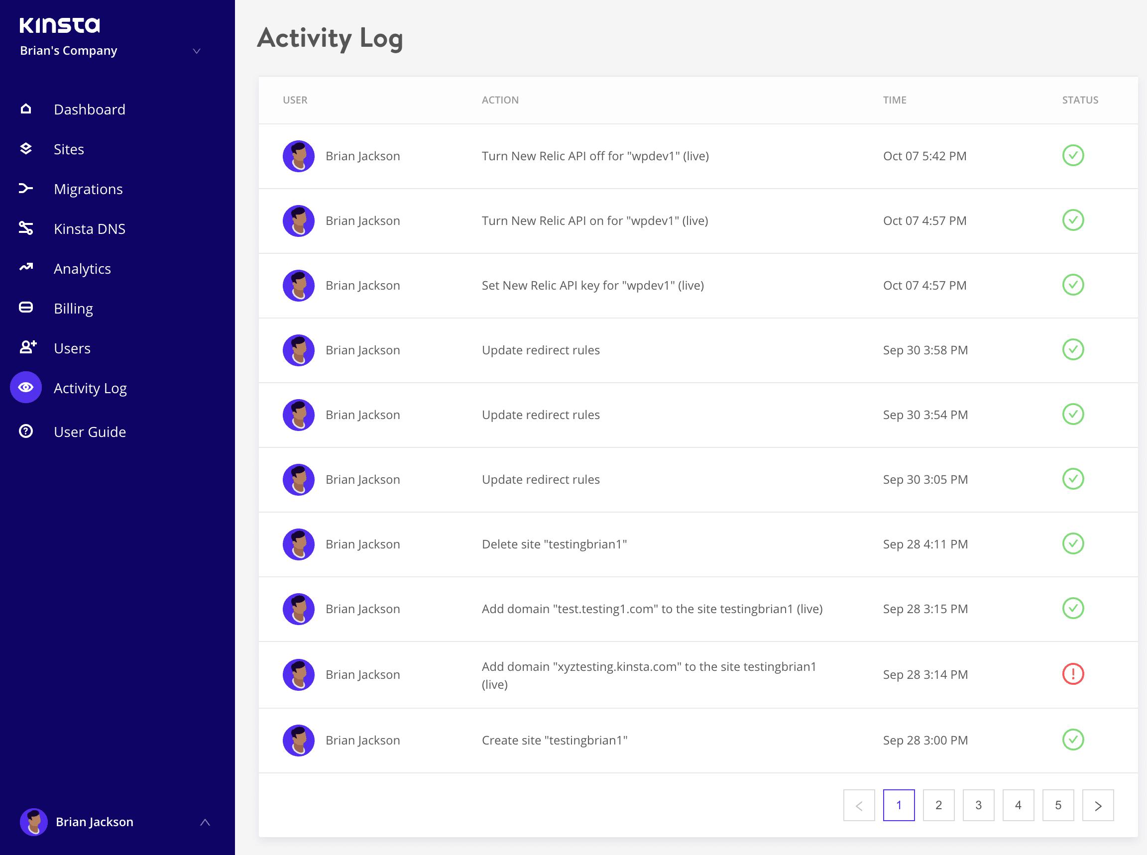 Registo de actividades do MyKinsta