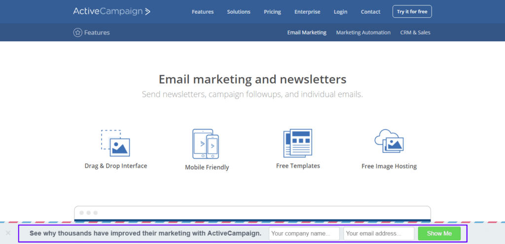 ActiveCampaign lista de email de barra flutuante