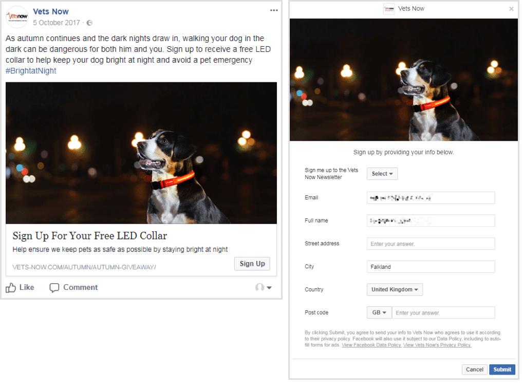Anúncio principal do Facebook
